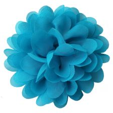 10cm Pompom Bloom in TURQUOISE BLUE Fabric Flower Applique